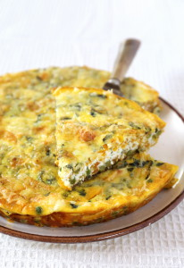 Italian cuisine: green peas and sweet potato fritatta. Focus selective